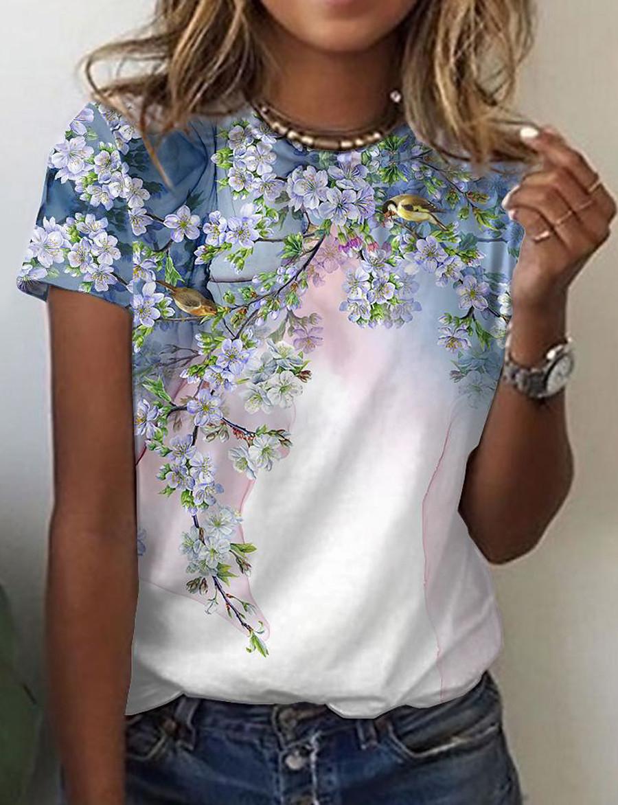 Women's Floral Theme Painting T shirt Floral Bird Print Round Neck Basic Tops Blushing Pink Green White