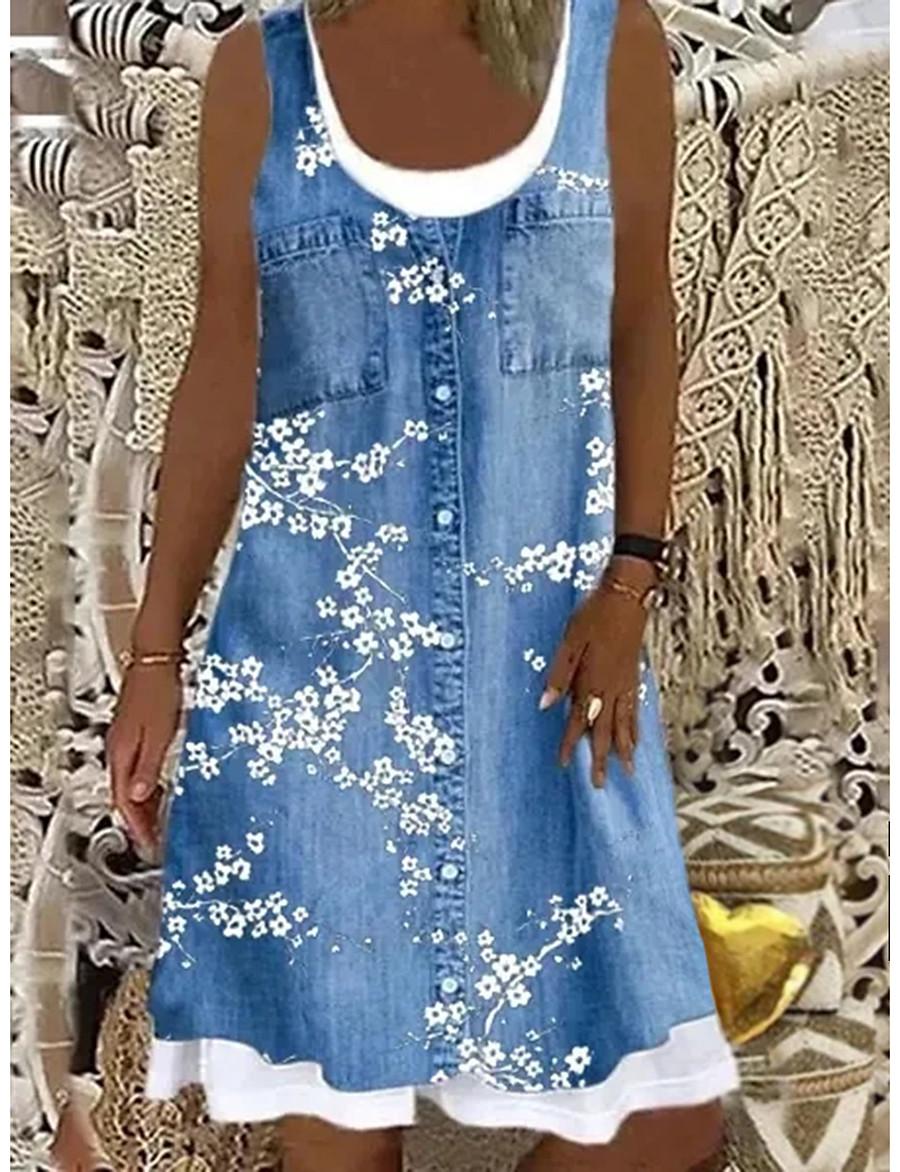 Women's Knee Length Dress Shift Dress Blue Gray Brown Light Blue Sleeveless Fake two piece Print Floral Boat Neck Spring Summer Casual Modern 2021 Loose S M L XL XXL 3XL 4XL