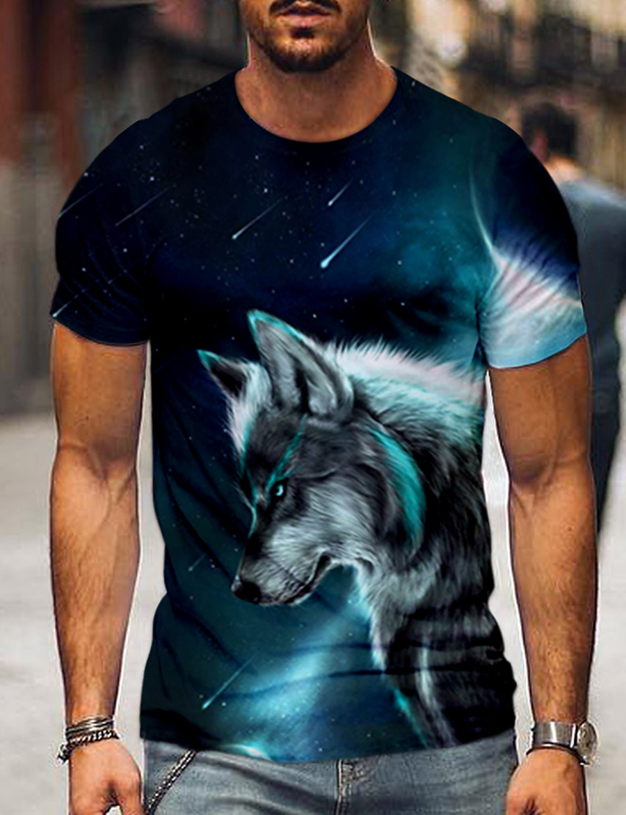 Men's Tee T shirt Shirt 3D Print 3D Animal Plus Size Print Short Sleeve Party Tops Casual Vintage Round Neck Green