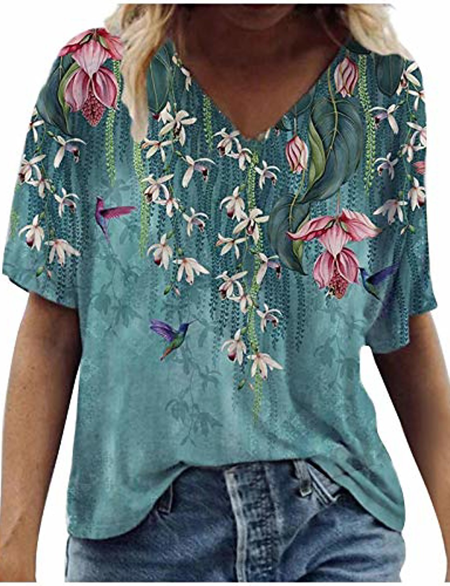women's summer short sleeve tunic tops v neck colorful floral printed tees shirt casual comfy blouses tops