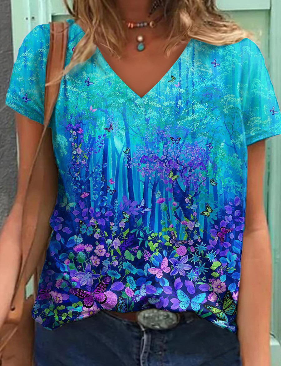 Women's Floral Theme Painting T shirt Floral Graphic Print V Neck Basic Tops Blue