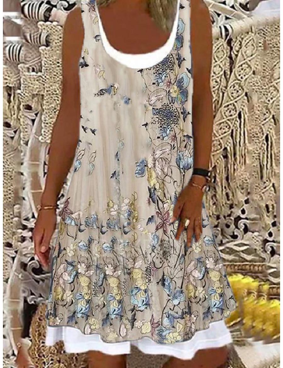 Women's A Line Dress Knee Length Dress Light Pink Light Blue Green 1 black. Beige Sleeveless Floral Floral Print Spring Summer Round Neck Casual 2021 S M L XL XXL