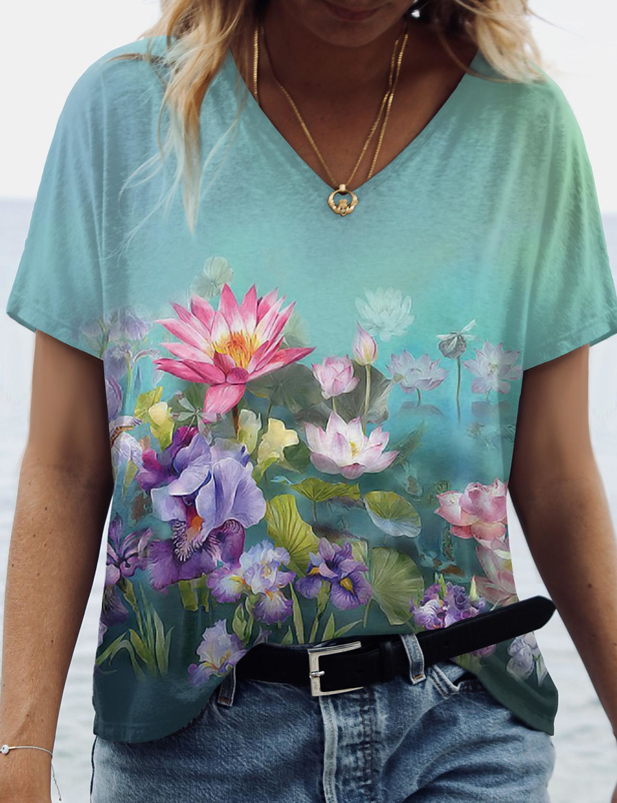 Women's Floral Theme 3D Printed Painting T shirt Floral 3D Flower Print V Neck Basic Tops Green