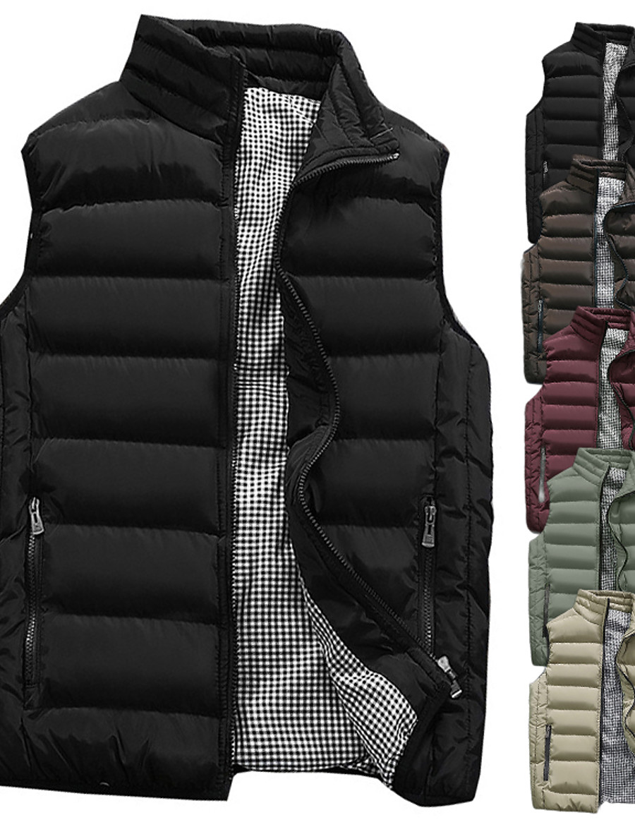 Men's Sleeveless Running Vest Gilet Sports Puffer Jacket Outerwear Coat Top Full Zip Casual Athleisure Winter Thermal Warm Waterproof Breathable Fitness Gym Workout Running Jogging Sportswear Solid