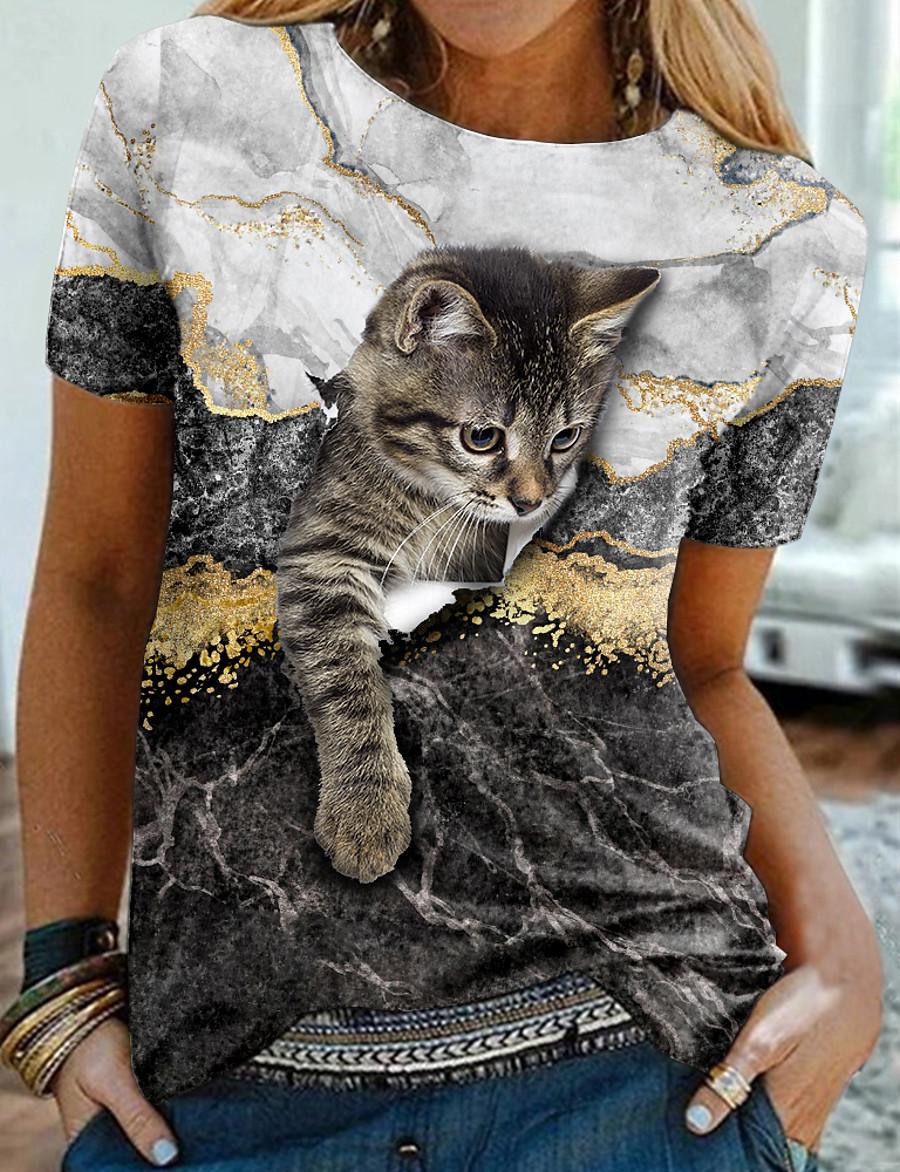 Women's T shirt 3D Cat Painting Cat Graphic 3D Round Neck Print Basic Vintage Tops Regular Fit Blue Khaki White / 3D Print