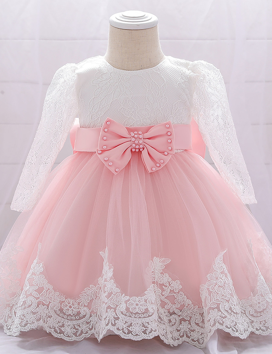 Baby Girls' Basic Christening Floral Solid Colored Beaded Embroidered Mesh Long Sleeve Dress Knee-length Blue Blushing Pink Wine / Bow