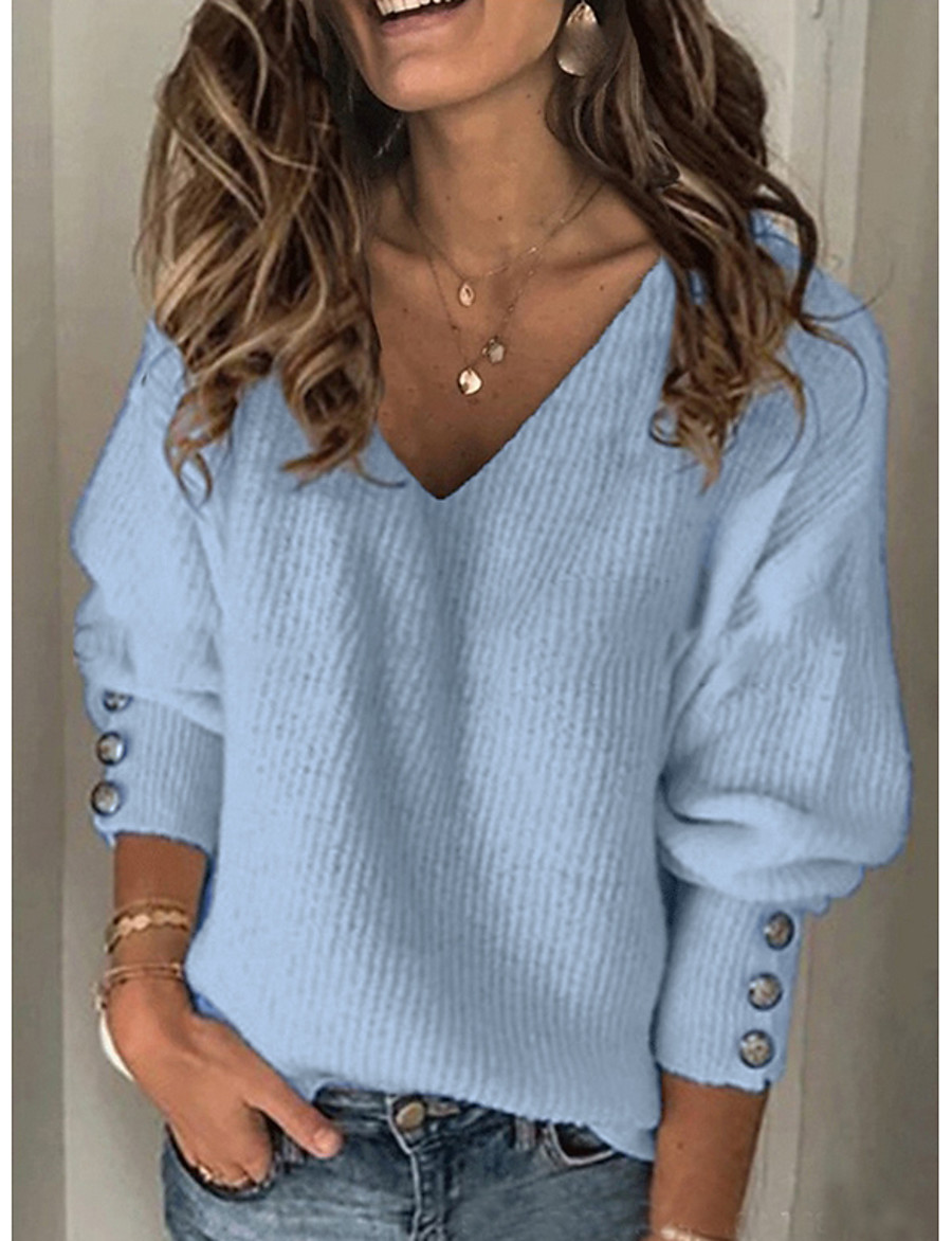 Women's Casual Solid Colored Pullover Long Sleeve Sweater Cardigans V Neck Fall Winter Blue Red Gray