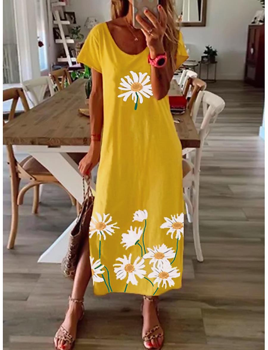 Women's Shift Dress Maxi long Dress Blue Yellow Gray Black Short Sleeve Daisy Floral Split Print Spring Summer Round Neck Casual 2021 S M L XL XXL 3XL