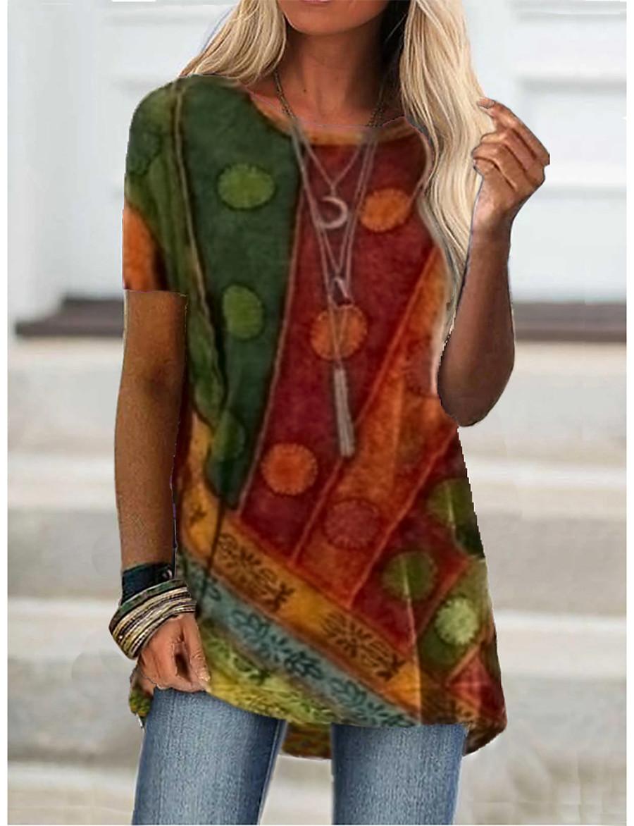 Women's T shirt Dress Tunic T shirt Graphic Color Block Round Neck Print Basic Boho Tops Blue Purple Wine / 3D Print