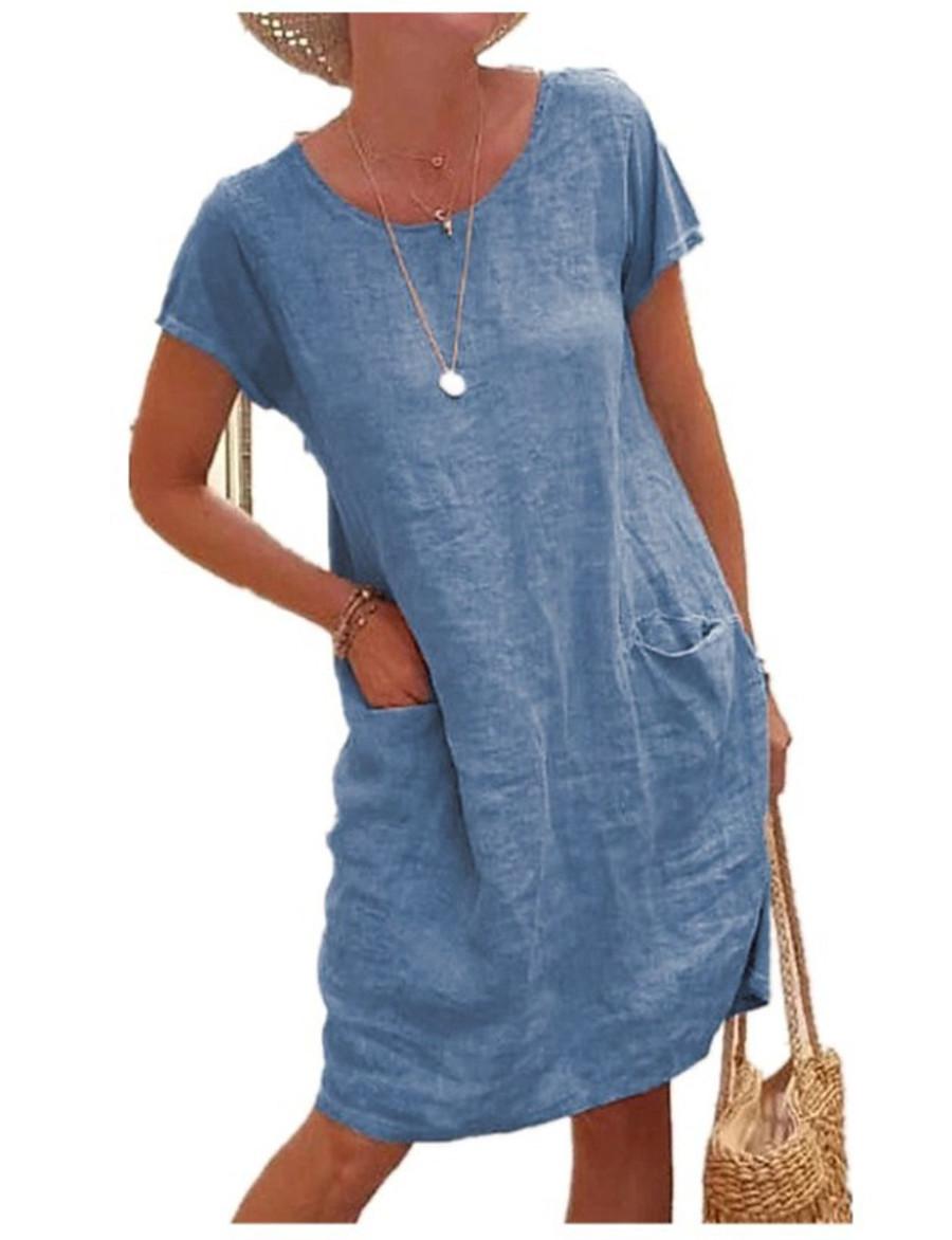 Women's Knee Length Dress Shift Dress Short Sleeve Pocket Solid Color Crew Neck Spring Summer Casual Classic 2021 Loose S M L XL 2XL 3XL 4XL 5XL