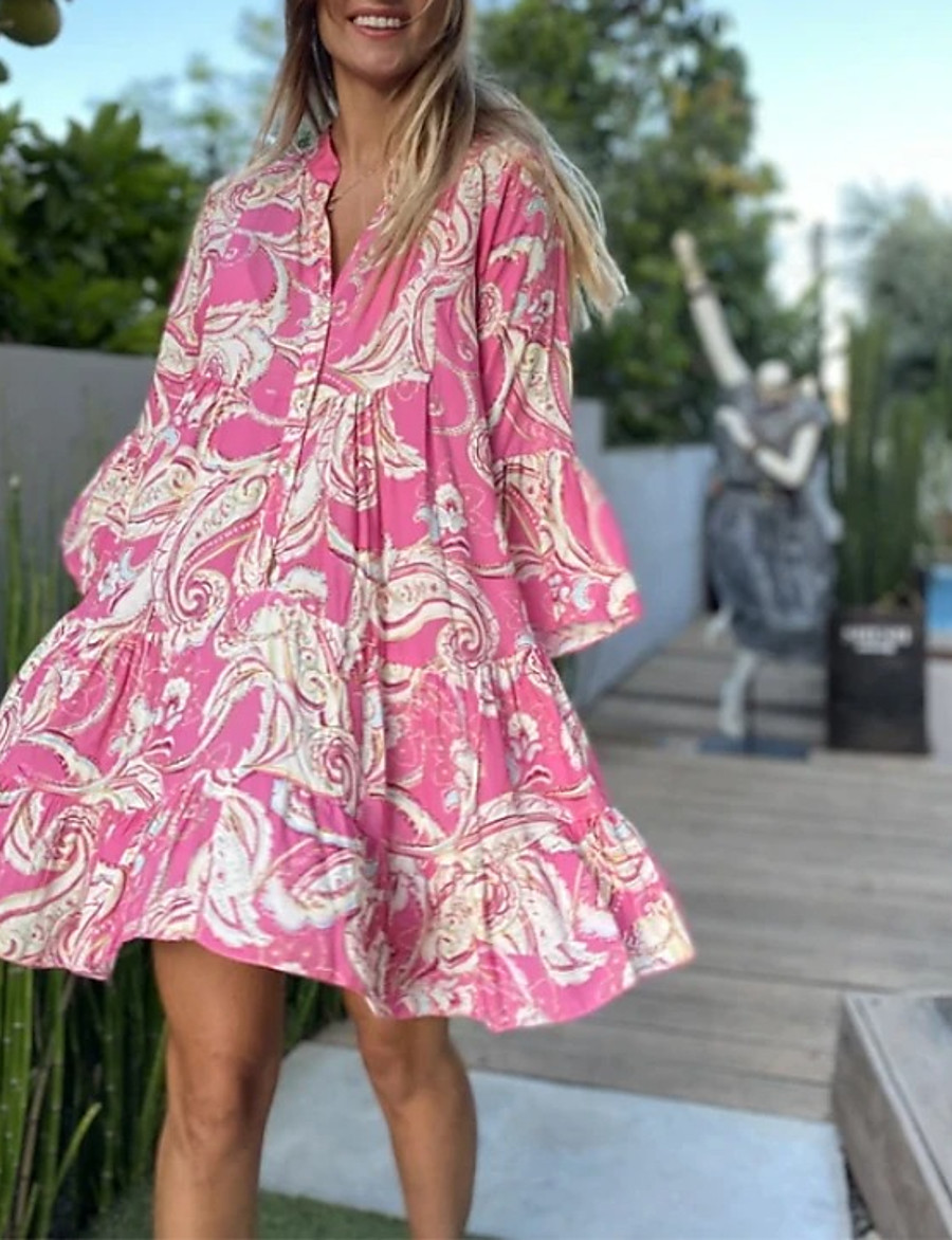 Women's Swing Dress Knee Length Dress Blushing Pink 3/4 Length Sleeve Floral Smocked Print Spring Summer V Neck Classic & Timeless Casual vacation dresses Flare Cuff Sleeve Loose 2021 S M L XL XXL