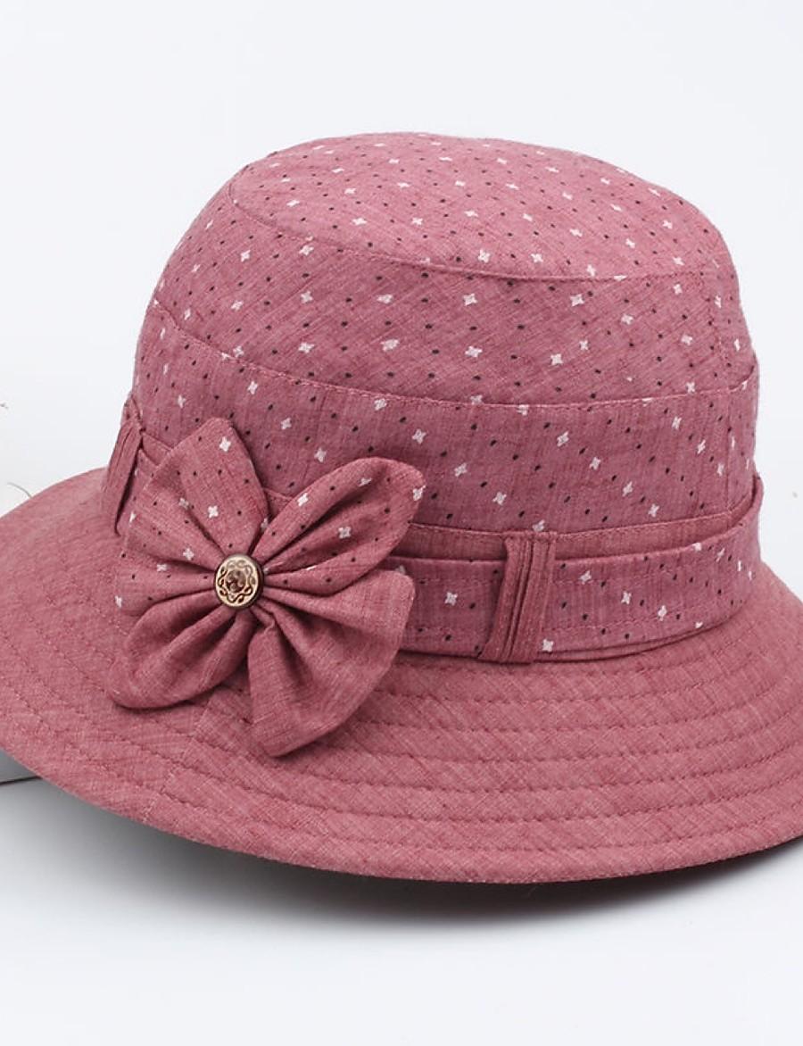 Women's Bucket Hat Sports & Outdoor Floral Style Bow Polka Dot Red Blue Hat / Purple / Gray / Khaki / Summer