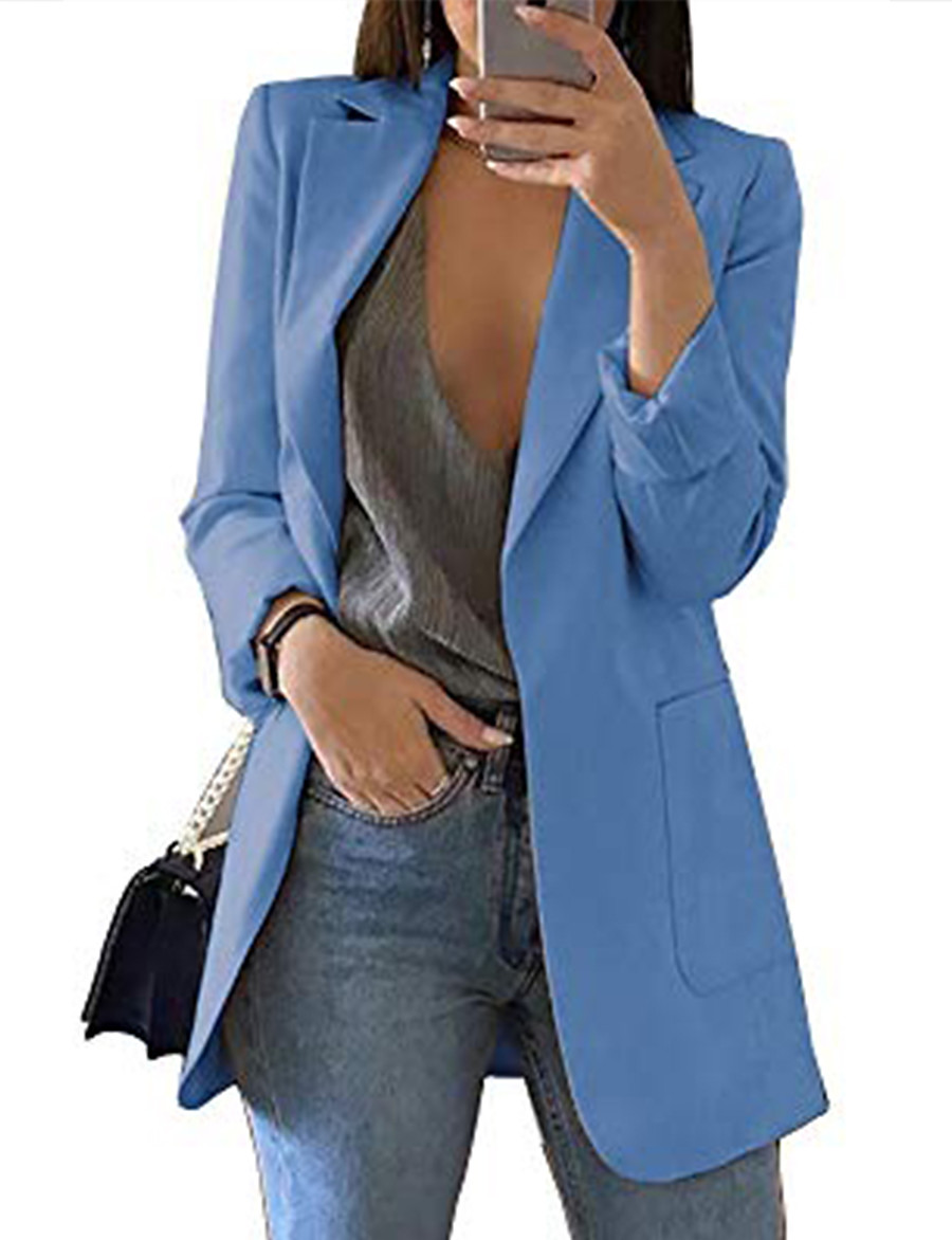 Women's Blazer Classic Solid Color Chic & Modern Long Sleeve Coat Casual Fall Spring Regular Open Front Jacket Blue / Daily / Pocket