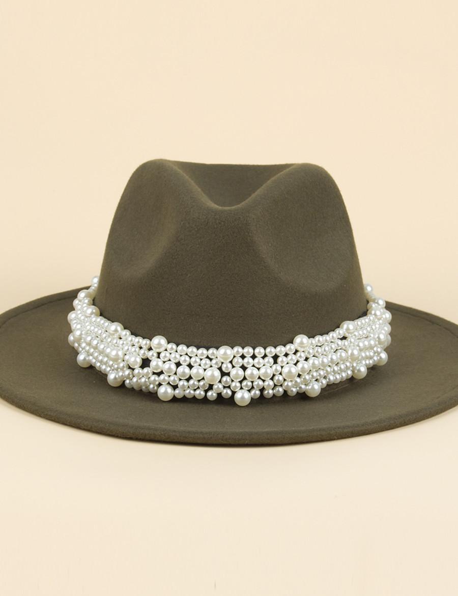 Women's Fedora Hat Seed Pearls Party Dailywear Weekend Wine Beige Solid Color Hat / Coffee / Black / Red / Blue / Green