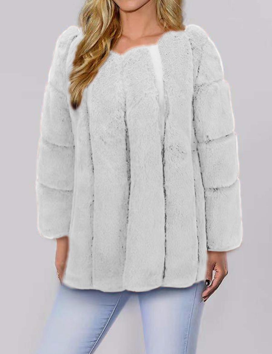 Women's Faux Fur Coat Fall Winter Spring Wedding Street Daily Regular Coat V Neck Warm Fashion Regular Fit Elegant & Luxurious Jacket Long Sleeve Fur Solid Colored Blushing Pink White Light gray