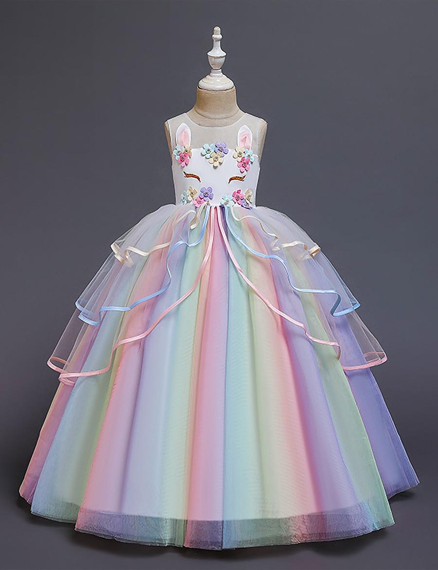 Kids Little Girls' Dress Unicorn Rainbow Costume Party Princess Flower Color Block Tulle Dress Birthday Layered Ruffled White Blushing Pink Maxi Sleeveless Princess Sweet Dresses 3-12 Years