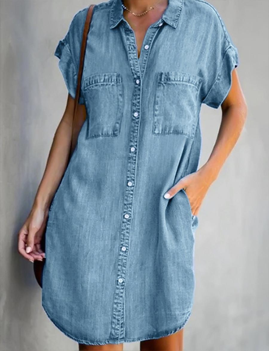 Women's Denim Shirt Dress Short Mini Dress Light Blue Short Sleeve Solid Color Pocket Spring Summer Shirt Collar Hot Casual Work 2021 S M L XL XXL