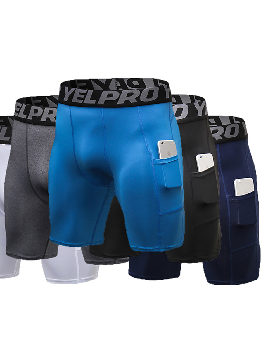 Men's Athletic Compression Shorts Running Tight Shorts Bottoms Spandex with Phone Pocket Elastic Waistband Fitness Gym Workout Running Active Training Jogging Summer Quick Dry Breathable Power Flex