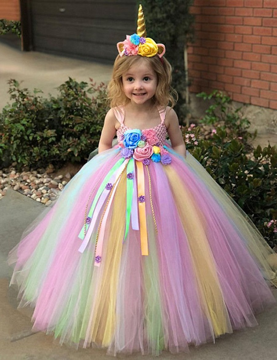 Kids Toddler Little Girls' Dress 2pcs Unicorn Rainbow Tutu Floral Party Princess Dresses With Headband Birthday Tulle Mesh Blue Purple Blushing Pink Maxi Sleeveless Sweet Dresses 3-12 Years