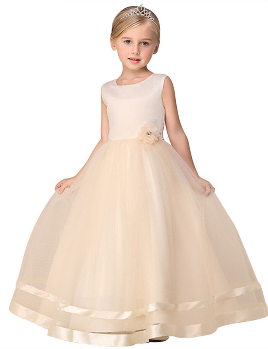 Kids Little Girls' Dress Solid Colored Flower Tulle Dress Daily Layered Lace Purple Blushing Pink White Sleeveless Basic Dresses 3-12 Years