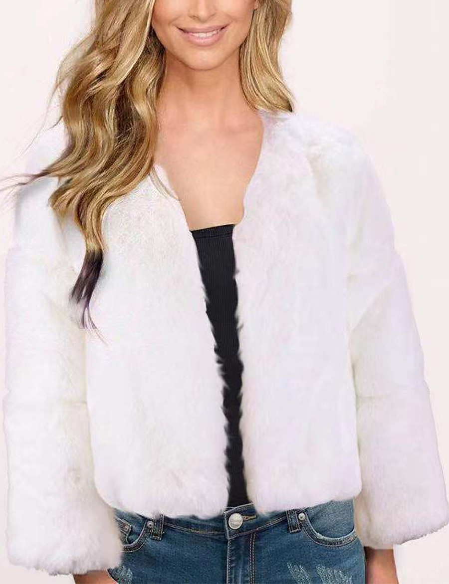 Women's Faux Fur Coat Fall Winter Wedding Daily Regular Coat V Neck Warm Regular Fit Elegant & Luxurious Jacket Long Sleeve Classic Solid Colored Blushing Pink Gray White