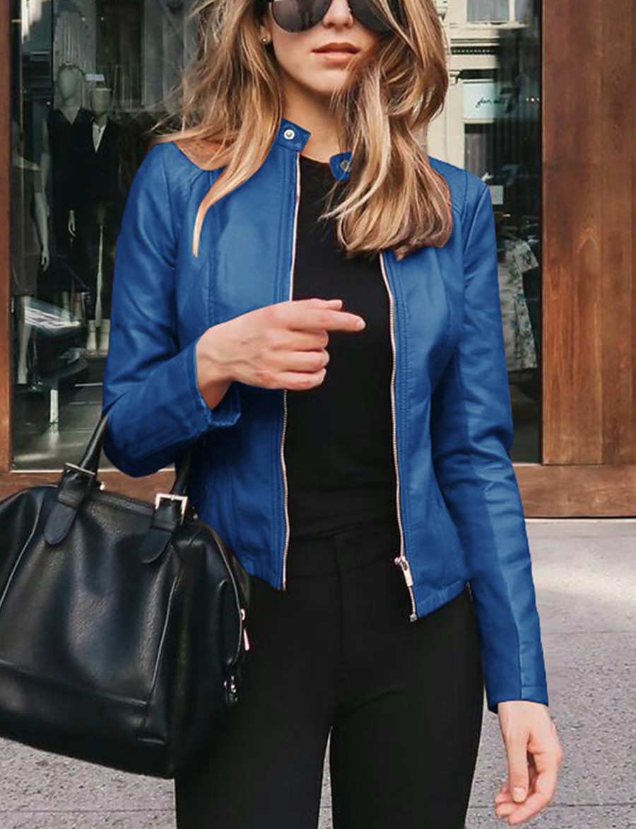 Women's Faux Leather Jacket Fall Spring Street Shopping Road Bike Regular Coat Windproof Fashion Slim Fit Chic & Modern Jacket Long Sleeve Zipper Solid Color Light Pink Navy Wine Red