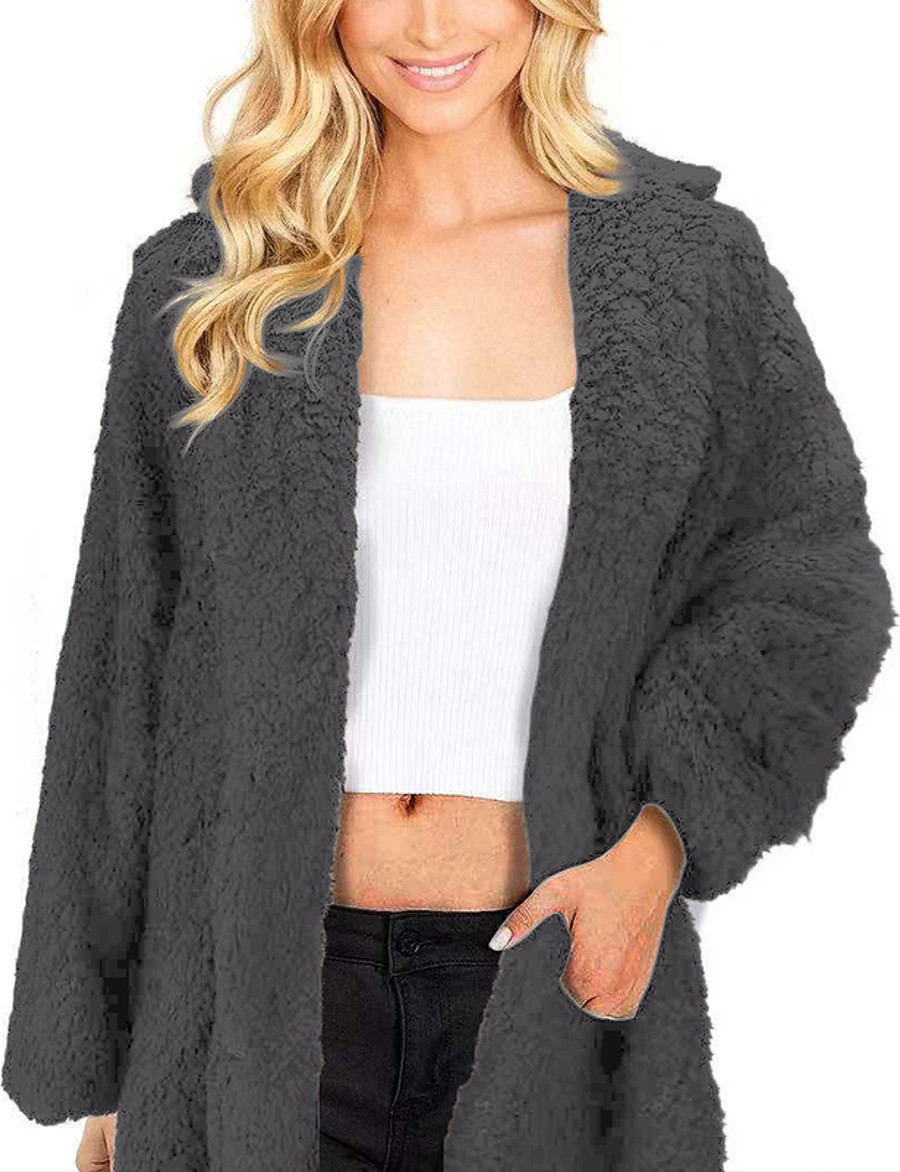 Women's Teddy Coat Fall Winter Spring Daily Going out Long Coat Regular Fit Elegant & Luxurious Jacket Long Sleeve Classic Style Solid Colored Army Green Khaki Light Gray / Faux Fur