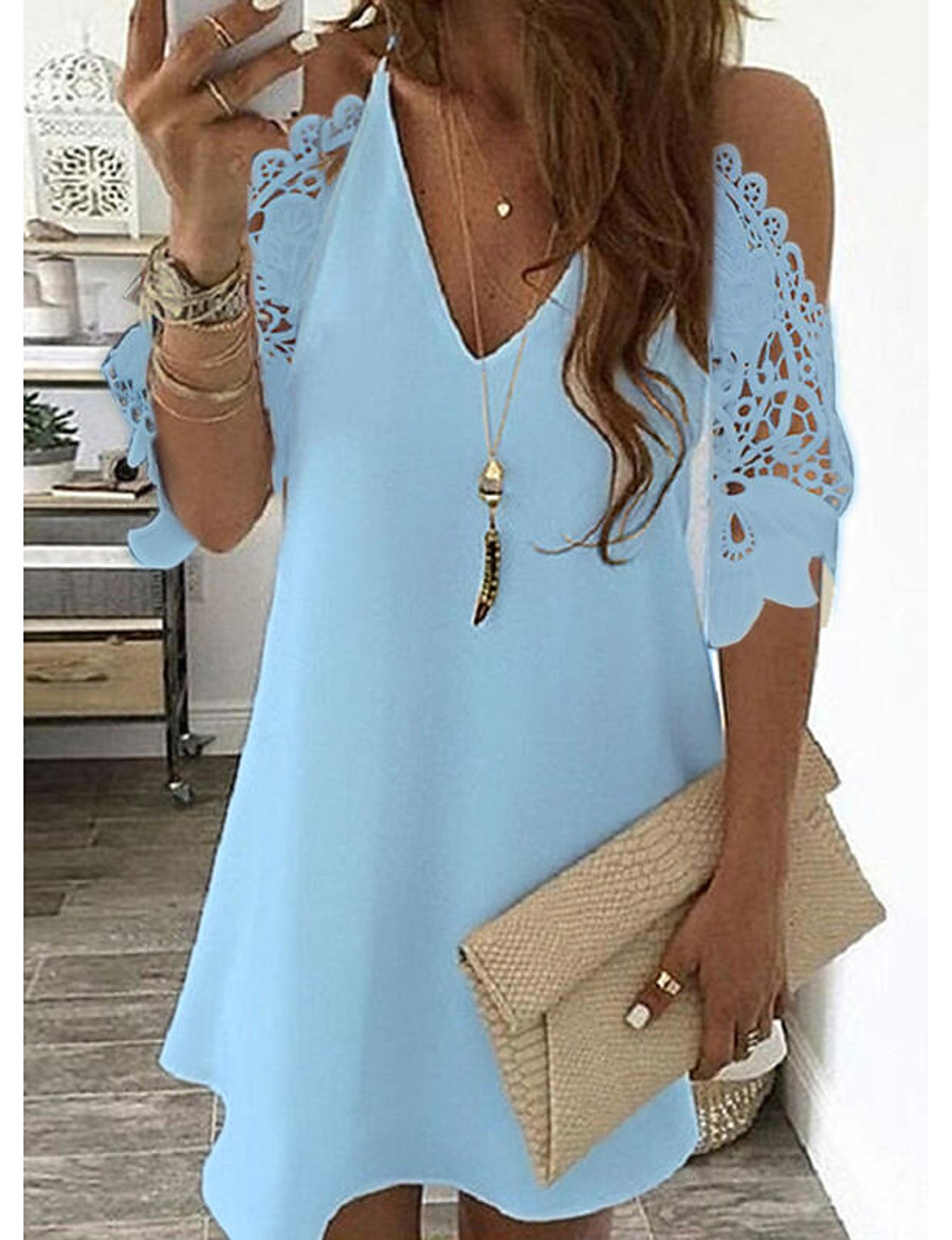 Women's Shift Dress Short Mini Dress Light Blue Yellow Blushing Pink White Black Red Navy Blue Half-Sleeve Solid Color Openwork Cold Shoulder Spring Summer V Neck Stylish Casual 2021 S M L XL XXL
