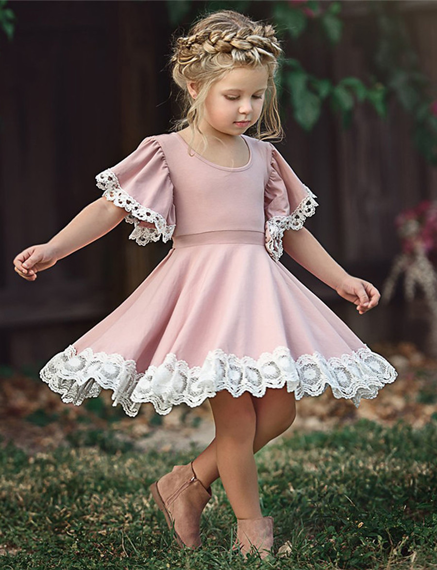 Kid's Little Girls' Dress Solid Color Flower School Lace Puff Sleeve Purple Blushing Pink Green Cotton Short Sleeve Cute Sweet Dresses Summer 2-12 Years