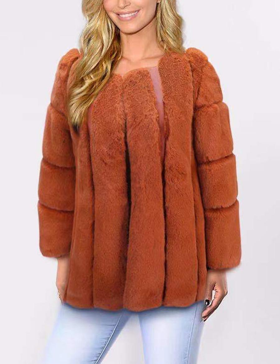 Women's Faux Fur Coat Fall Winter Spring Wedding Casual Daily Regular Coat V Neck Warm Fashion Regular Fit Elegant & Luxurious Jacket Long Sleeve Fur Solid Colored Blushing Pink Gray Khaki