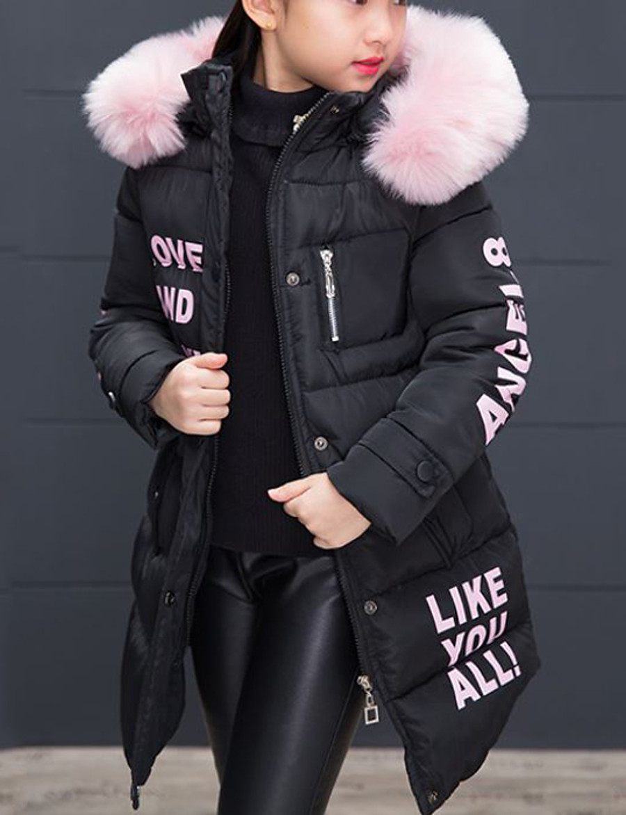 Kids Girls' Down & Cotton Padded Jacket & Coat Trench Coat Blushing Pink Black Red Fur Zipper Pocket Print Letter Going out Outdoor Cotton Basic Keep Warm 4-12 Years / Winter
