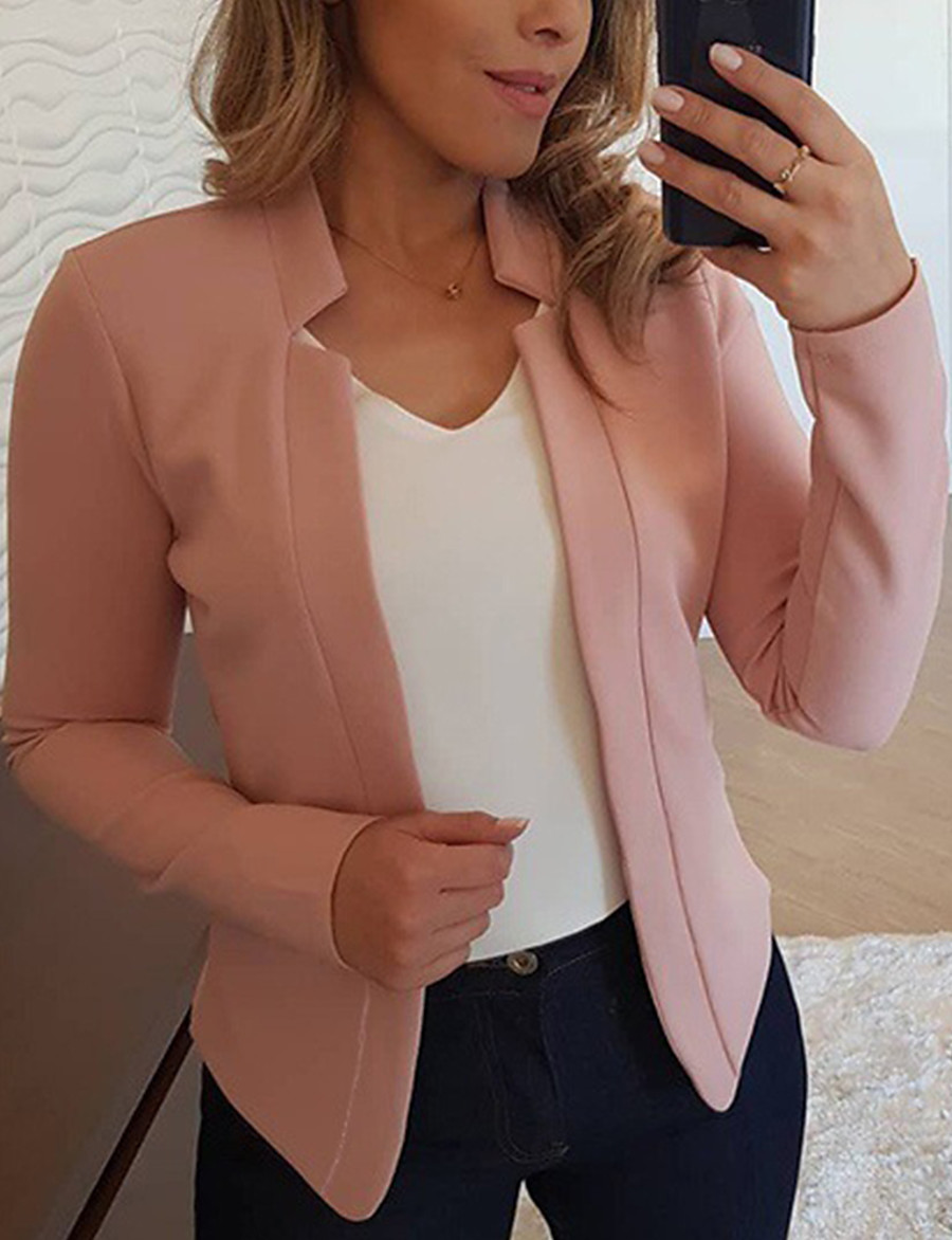 Women's Blazer Solid Color Classic Casual Long Sleeve Coat Fall Spring Causal Open Front Regular Jacket Light Pink V Neck
