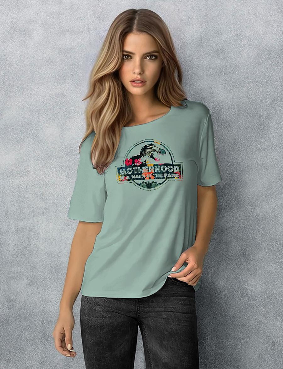 women motherhood is a walk in the park t-shirt vintage jurassic dinosaur mom flowers graphic tees top green xl