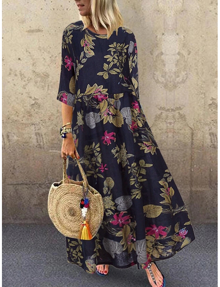 Women's A Line Dress Maxi long Dress Yellow Red Navy Blue Half-Sleeve Floral Print Spring Summer Round Neck Hot Casual Holiday vacation dresses Loose 2021 M L XL XXL 3XL 4XL 5XL / Plus Size