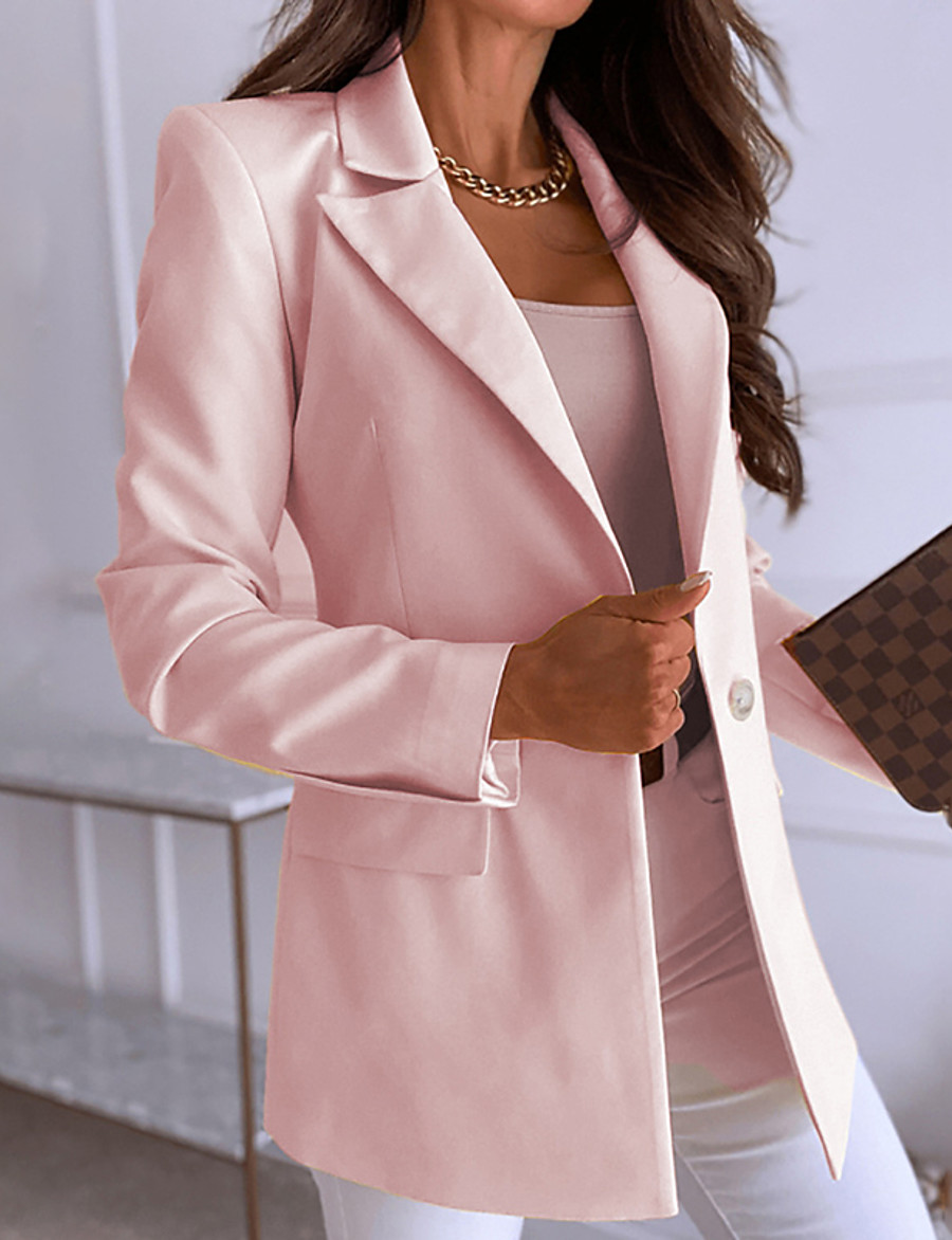 Women's Blazer Fall Spring Casual Daily Regular Coat Turndown Single Breasted One-button Warm Regular Fit Casual Jacket Long Sleeve Quilted Solid Color Blue Yellow Blushing Pink