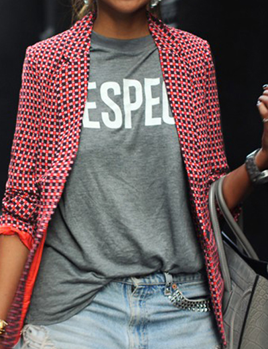 Women's Blazer Classic Style Striped Chic & Modern Long Sleeve Coat Daily Wear Fall Spring Regular Jacket Red / Shirt Collar / Slim