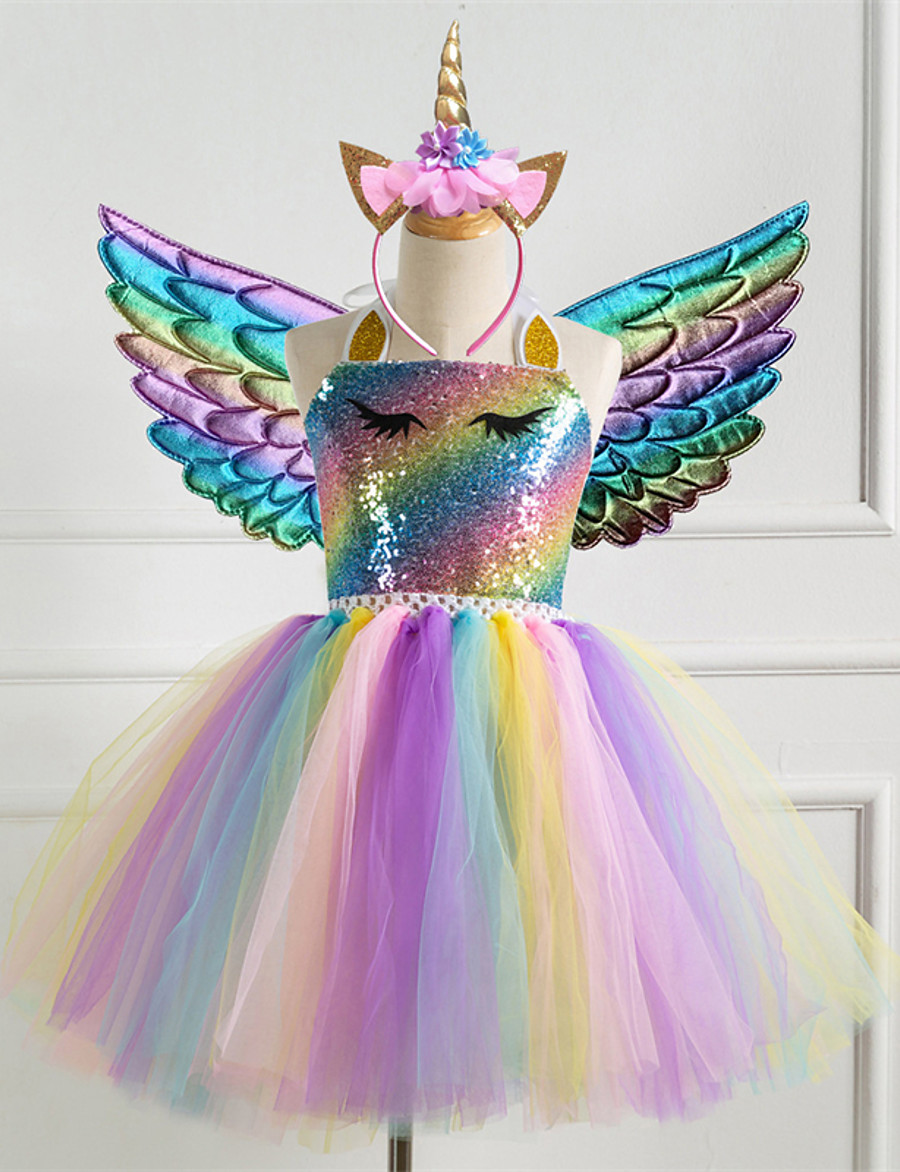 Kids Little Girls' Dress Rainbow Colorful Unicorn Party Tutu Dresses Photography Sequins Halter Purple Silver Gold Tulle Princess Cute Dresses Three Piece 2-8 Years