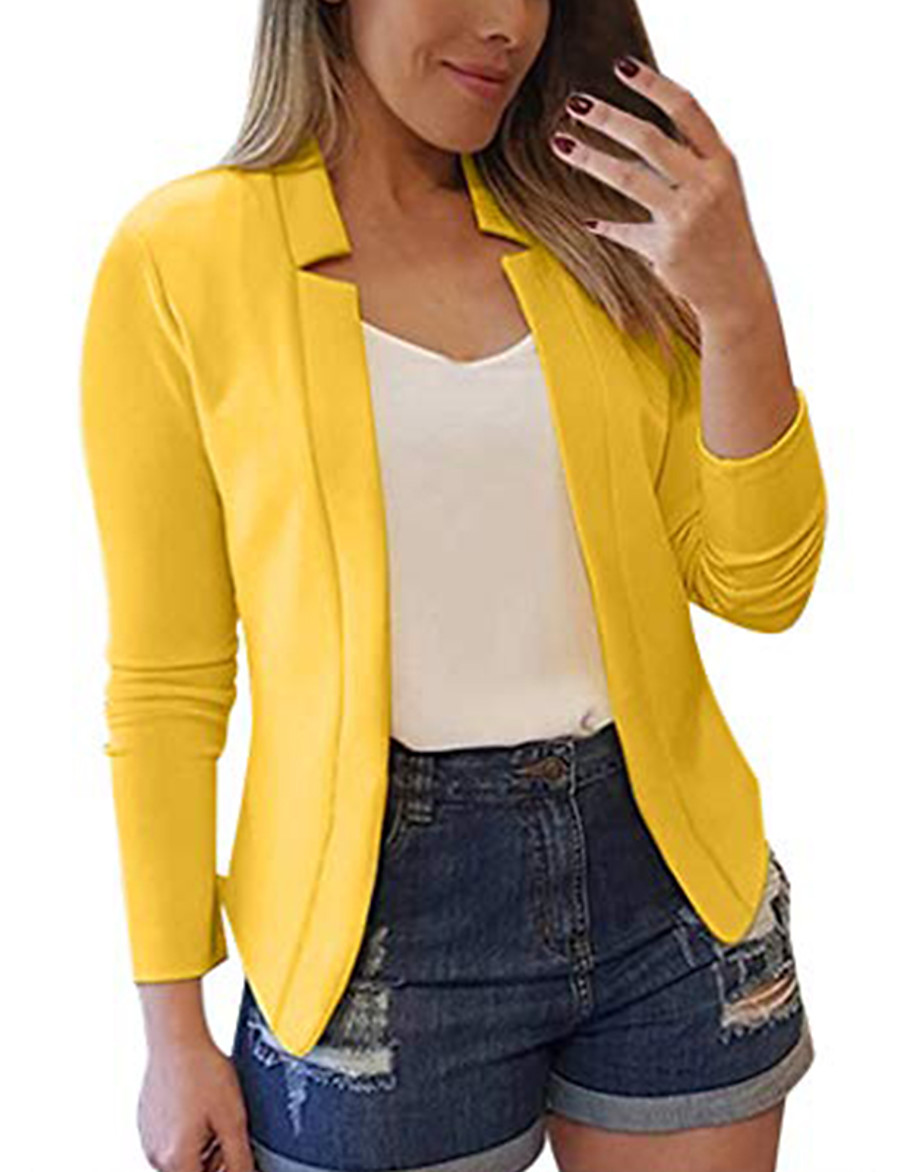 womens casual professional suit cardigan solid color long sleeve pocket outerwear slim trench coat yellow