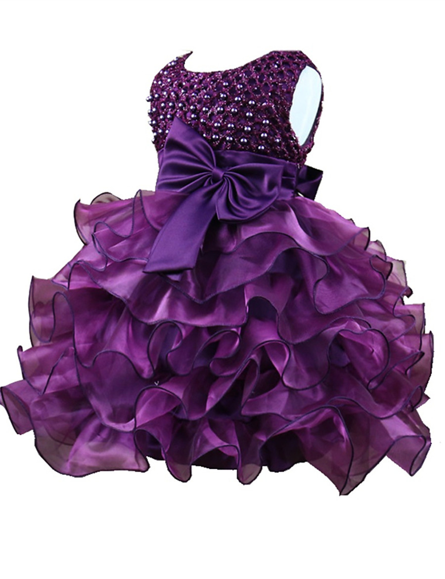 Baby Girls' Active Basic Solid Colored Patchwork Sleeveless Dress Midi Purple Blushing Pink Fuchsia / Summer