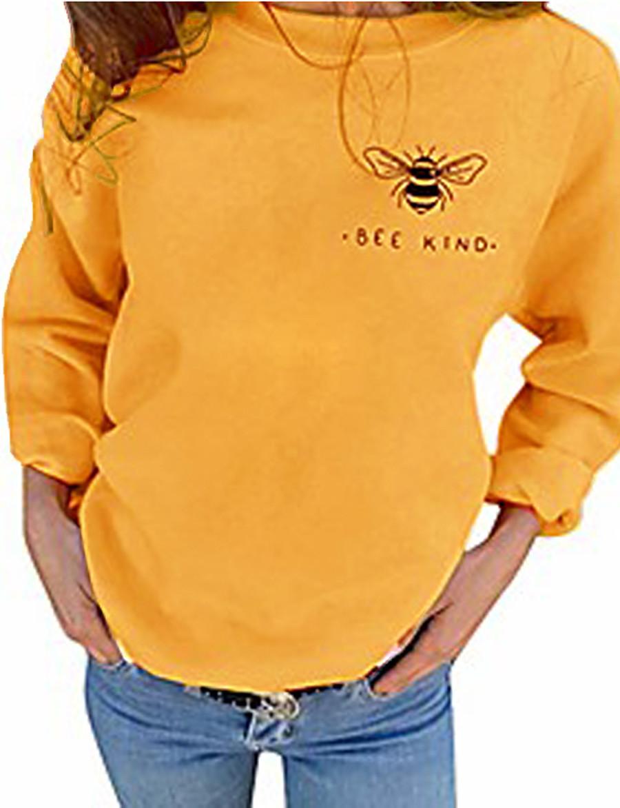 Bee Letter Animal Crew Neck Basic Hoodies Sweatshirts  Cotton Regular Fit Wine Red Gray Black Yellow black / Autumn / Fall