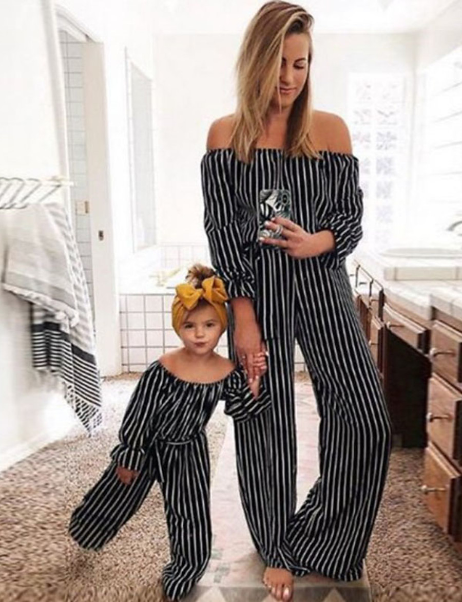 Overall & Jumpsuit Family Look Daily Striped Patchwork Black Maxi Long Sleeve Active Matching Outfits