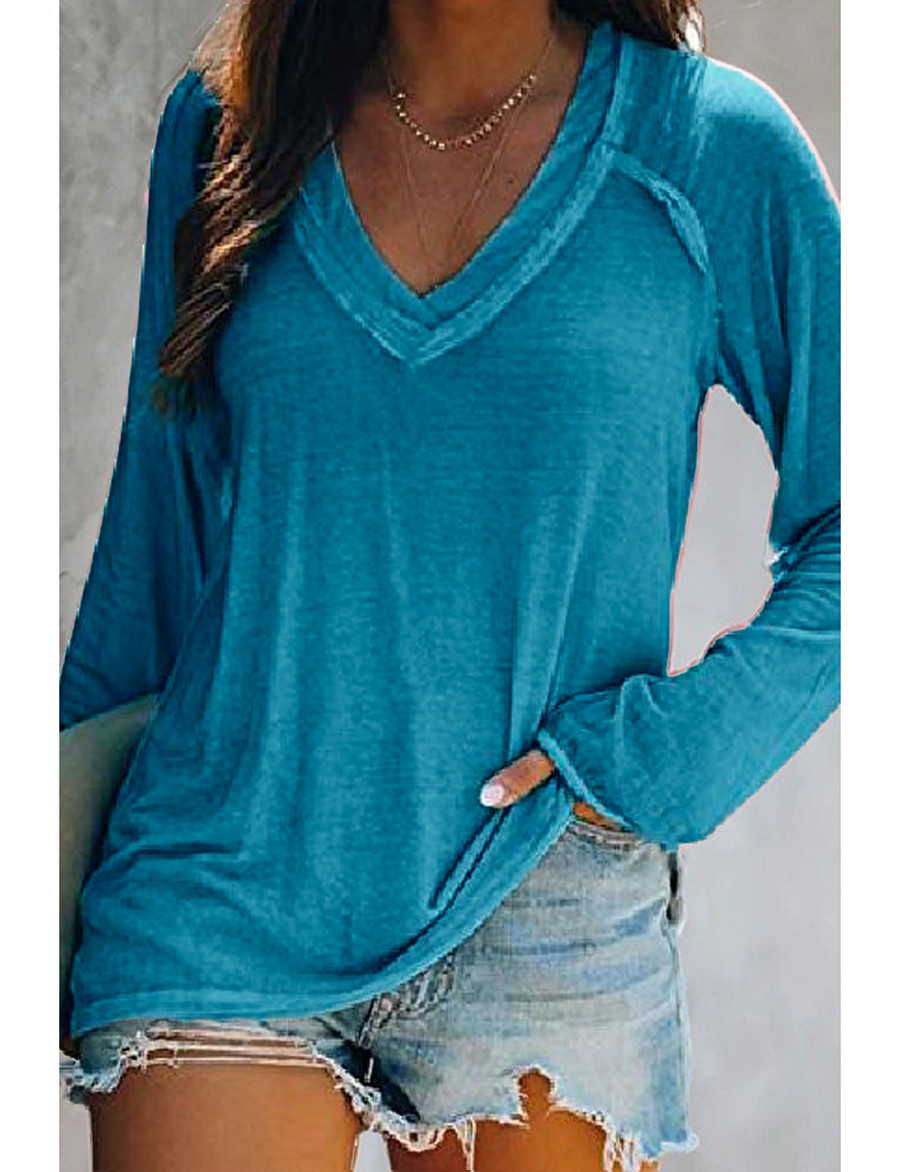 Women's T shirt Solid Colored V Neck Basic Casual Tops Pink Blue Gray