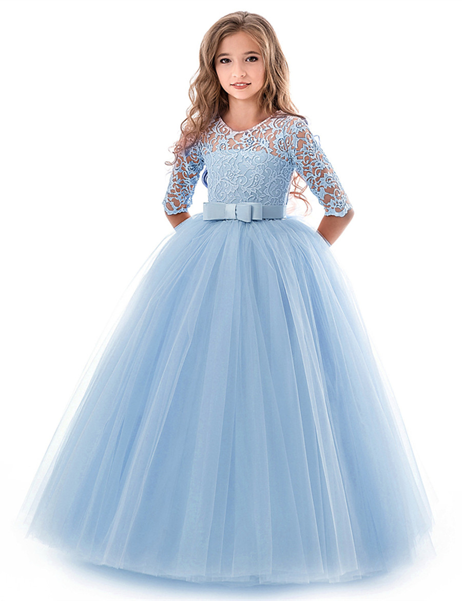 Kids Little Girls' Dress Floral Lace Solid Colored Party Wedding Evening Hollow Out White Blue Purple Lace Tulle Maxi Short Sleeve Flower Vintage Gowns Dresses 3-13 Years