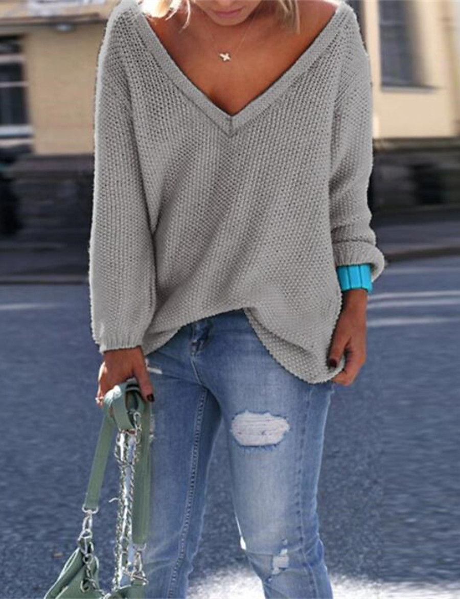 Women's Pullover Sweater Solid Color Knitted Basic Casual Long Sleeve Loose Sweater Cardigans Fall Winter V Neck Blue Purple Green