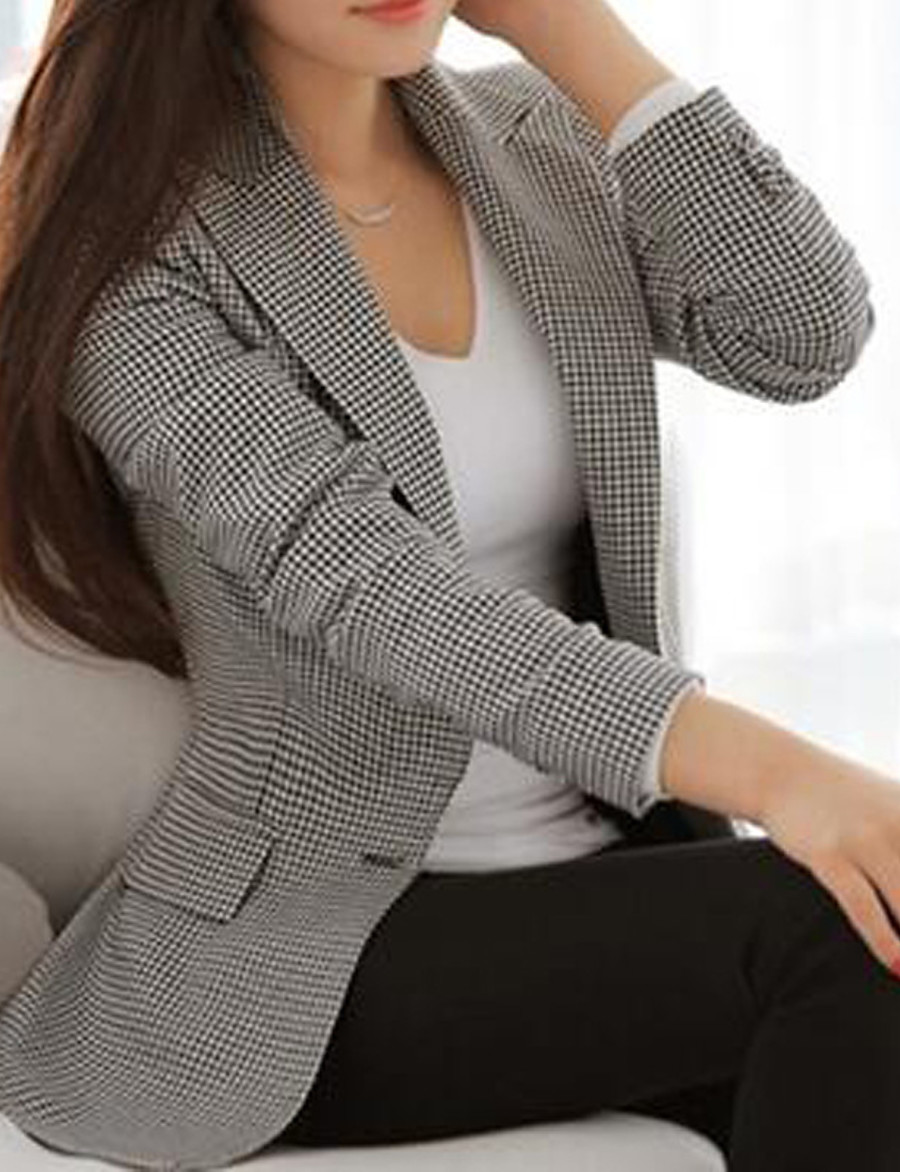 Women's Single Breasted Notch lapel collar Blazer Houndstooth Business Gray S / M / L