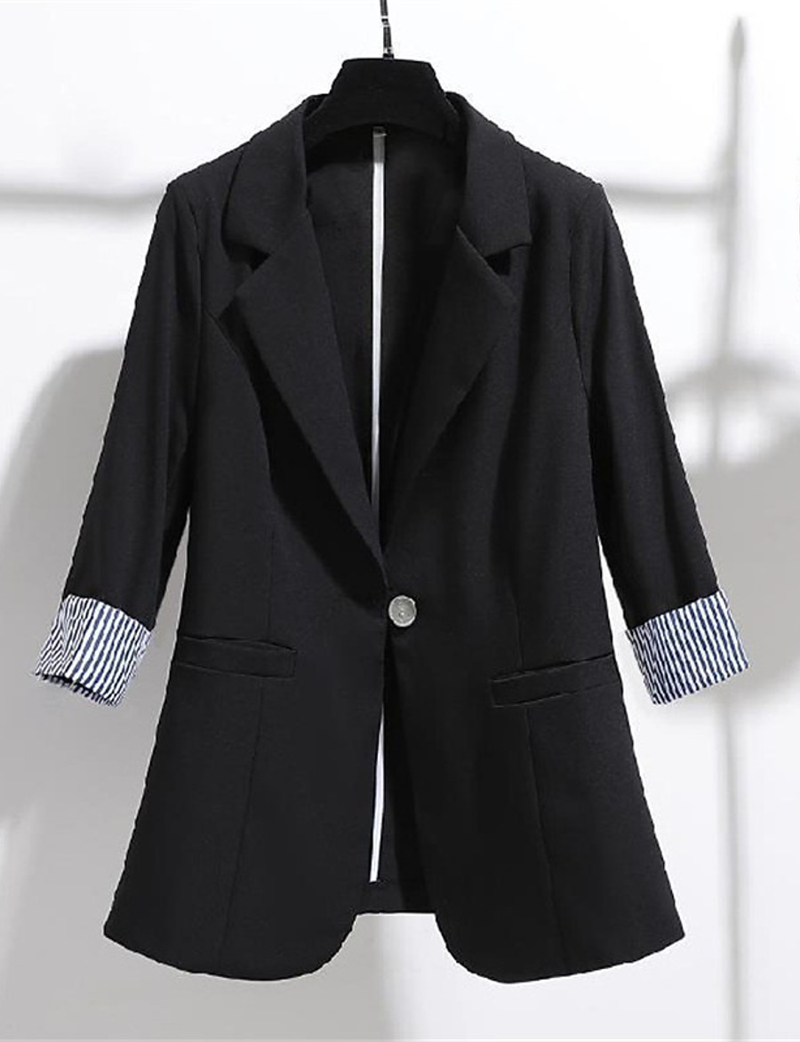 Women's Blazer Fall Spring Daily Work Regular Coat Turndown Single Breasted One-button Warm Breathable Regular Fit Casual Streetwear Jacket 3/4 Length Sleeve Pocket Plain White Black Apricot