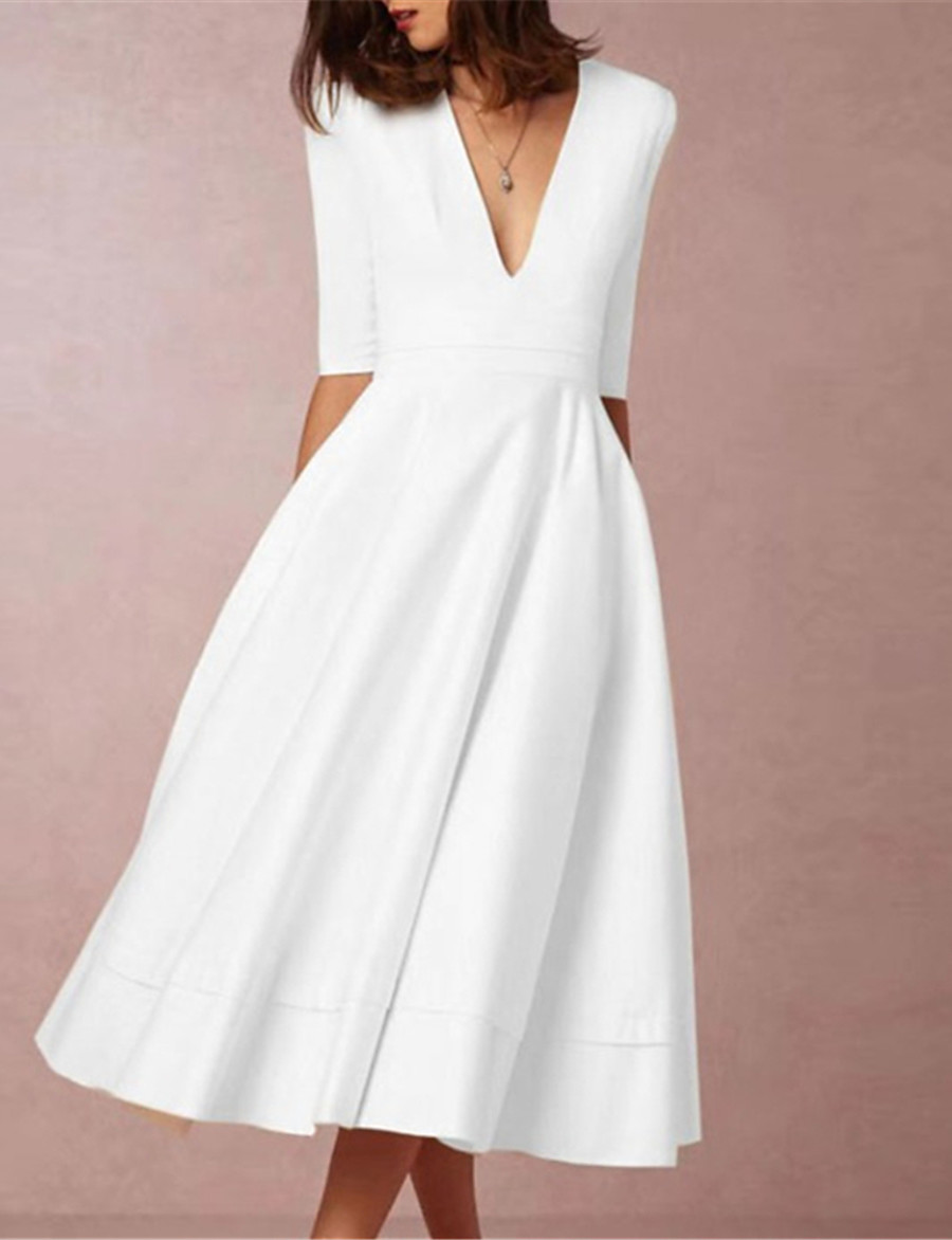 Women's Midi Dress Swing Dress White Half Sleeve Solid Color Deep V Fall Spring Going out Party Hot Elegant 2021 S M L XL XXL 3XL