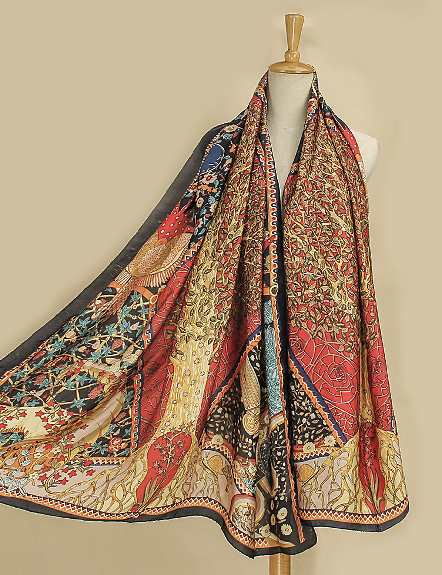 Women's Chiffon Scarf Red Daily Wear Scarf Graphic / Shawls / Multi-color / All Seasons / Polyester