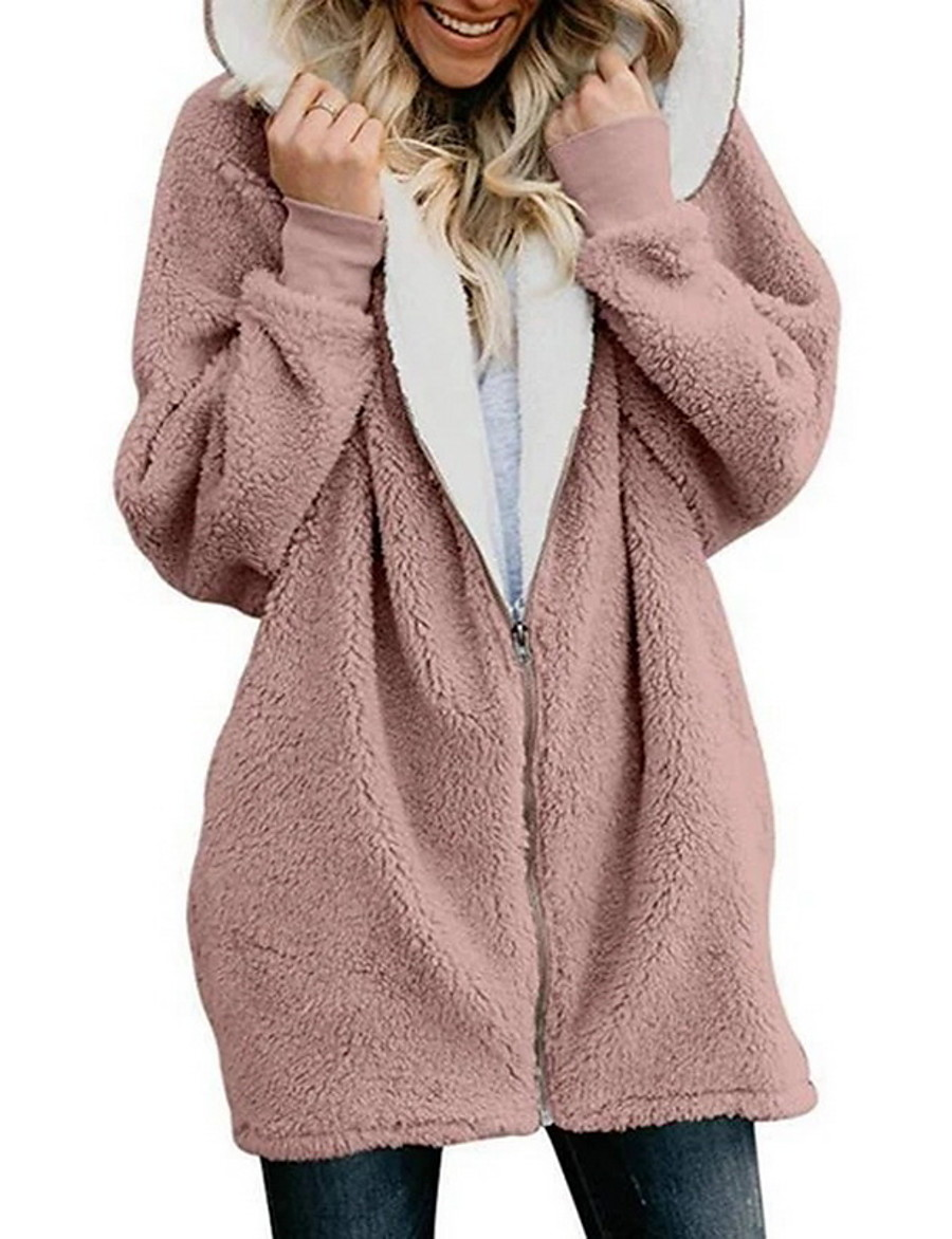 Women's Teddy Coat Fall Winter Spring Daily Long Coat Windproof Warm Loose Basic Jacket Long Sleeve Loose Fit Solid Colored Navy Pink Black