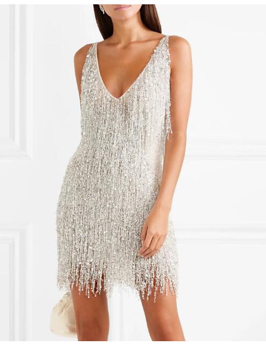 Women's Sheath Dress Short Mini Dress Silver Sleeveless Solid Color Backless Tassel Fringe Spring Summer V Neck Stylish Elegant Sexy 2021 S M L XL XXL / Party